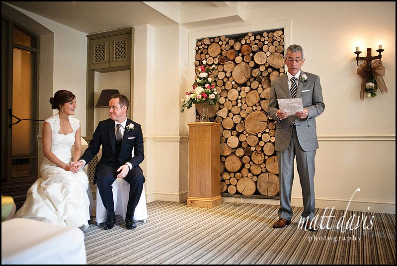 reading during wedding ceremony at Manor House Hotel