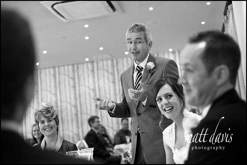 wedding photo during speeches at Manor House Hotel wedding