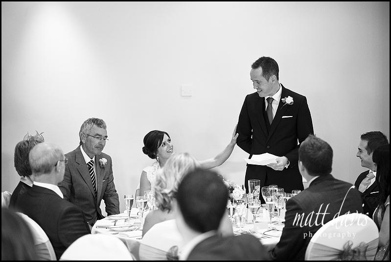 interesting wedding photo during speeches at Manor House Hotel wedding