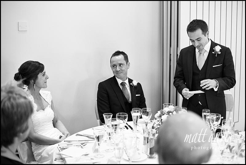 wedding photo of speeches at Manor House Hotel wedding