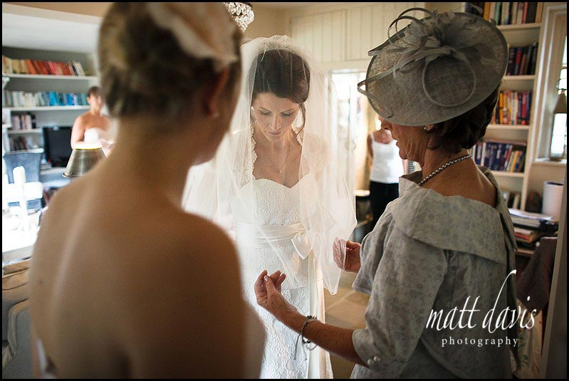 Bride with veil down over face