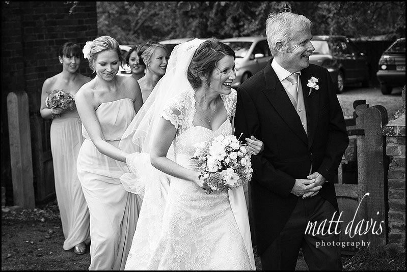 Bride at Ripple church, Gloucestershire