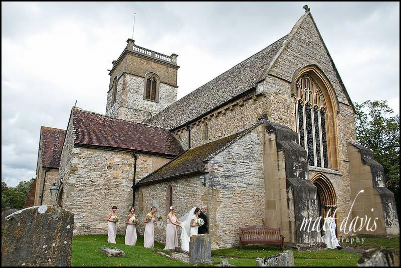 Bridal party at Ripple Church, Gloucestershire