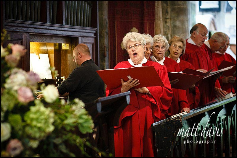 Choir singing in church during wedding