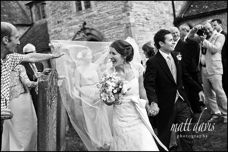 documentary wedding photography of guests outside Ripple Church
