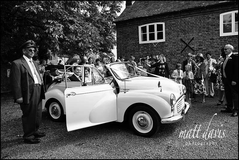 Vintage wedding car morris minor
