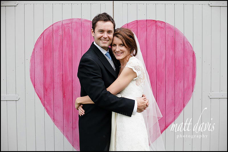 Wedding couple photo with homemade painted heart