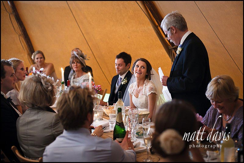 Wedding speeches at tipi wedding