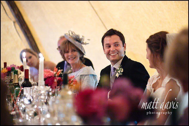 Marquee wedding photos during speeches