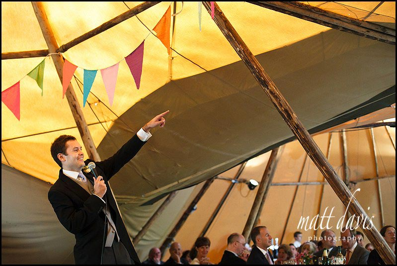 Marquee wedding photos with bunting
