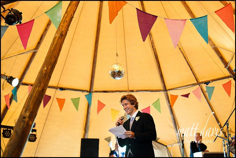 Marquee wedding photos with vintage bunting