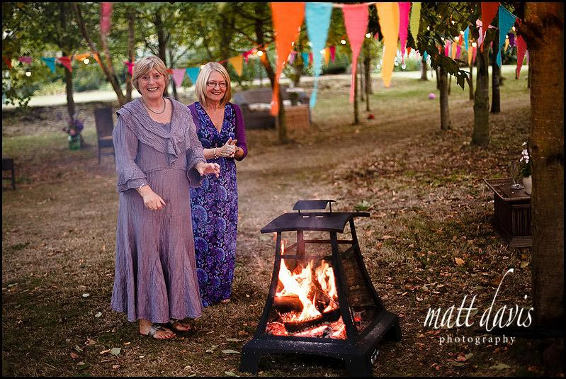Small fires at outdoor weddings to keep guests warm