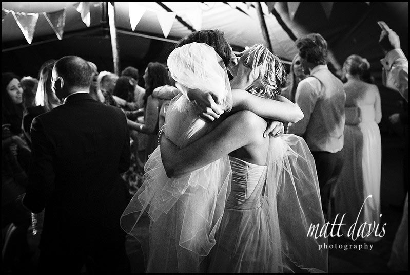 Bride and bridesmaids on the dance floor