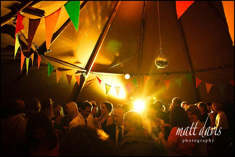 Inside a wedding tepee