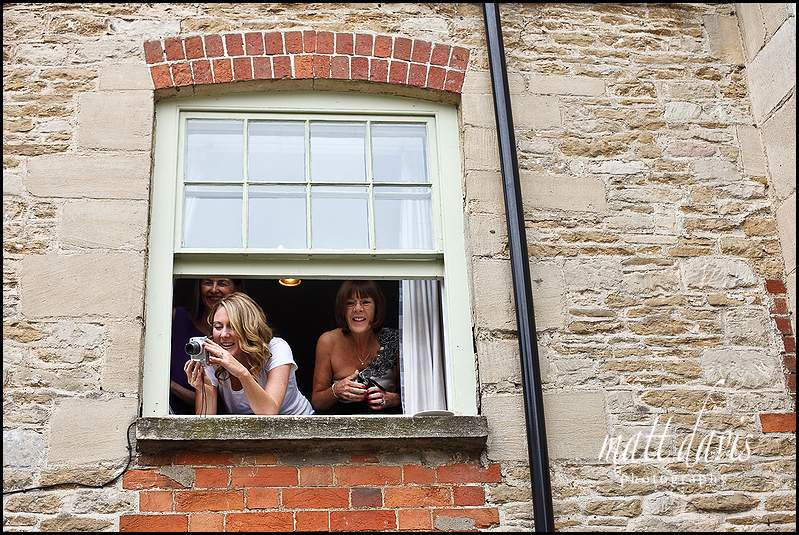 Wedding guests at hotel in Tetbury