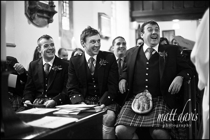 Scottish groom and best man