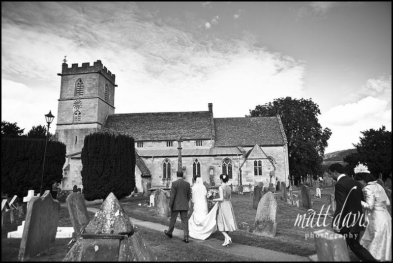 bride arriving at St Mary's Church, Prestbury, Cheltenham