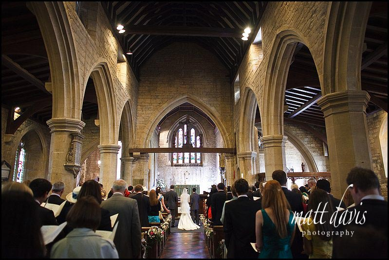 Inside St Mary's Church, Prestbury wedding photo