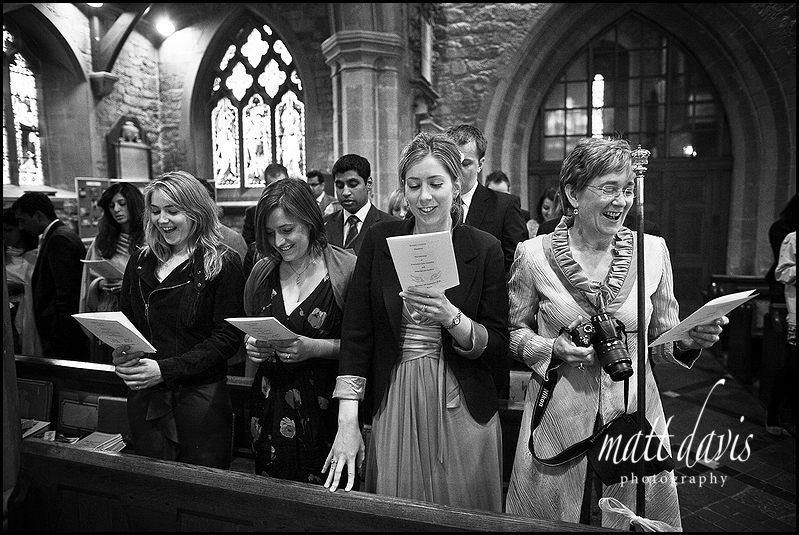 wedding guests at St Mary's Church Cheltenham