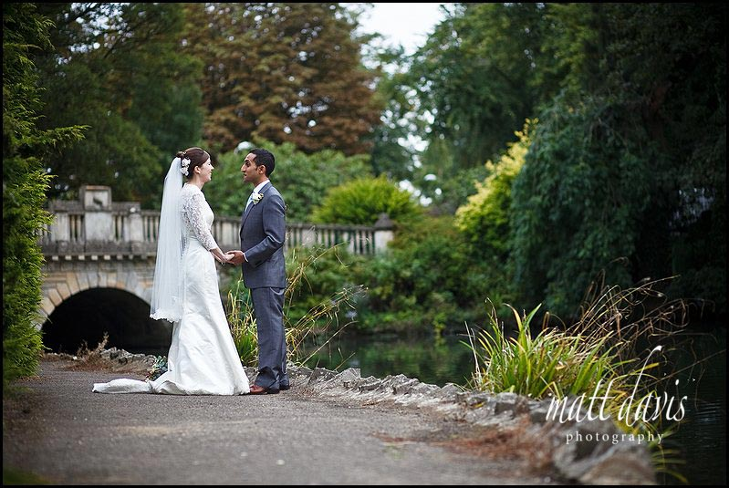 Wedding photos at Pittville Pump Room lake