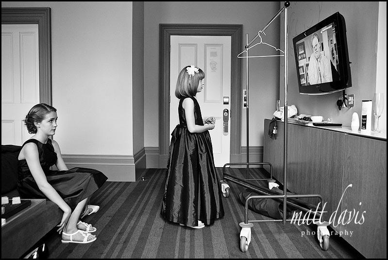 Bridesmaids watching TV