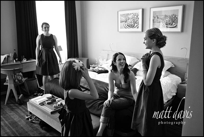 Bridesmaids and bride before the wedding