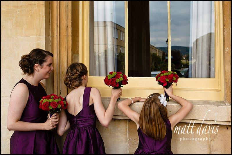 Bridesmaids at Pittville pump room wedding