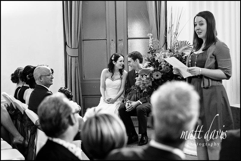 Wedding reading at Pittville pump room wedding