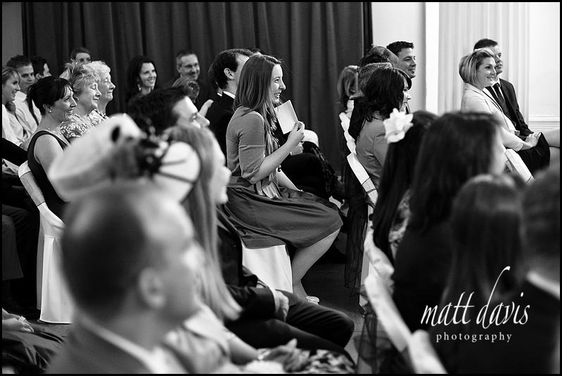 Wedding guests at Pittville pump room wedding