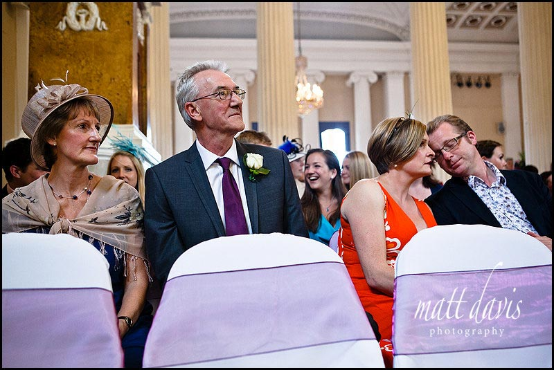 Wedding guests during civil ceremony at Pittville pump room