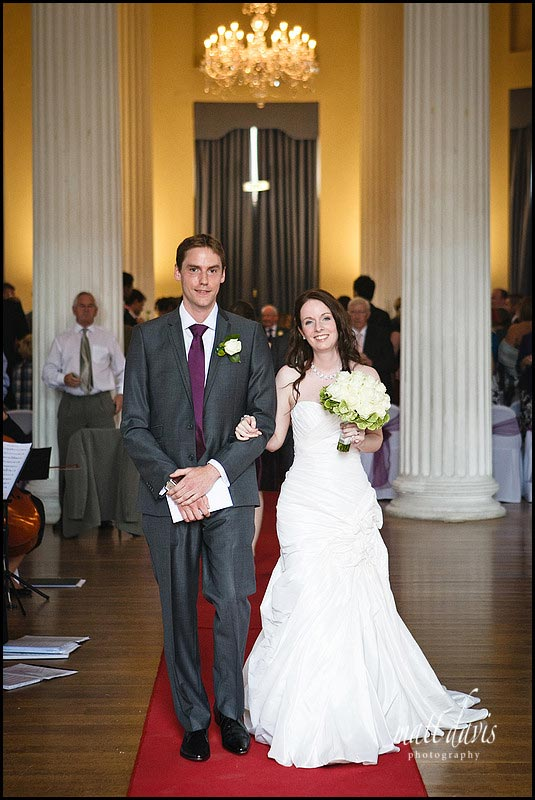 Wedding couple inside at Pittville pump room