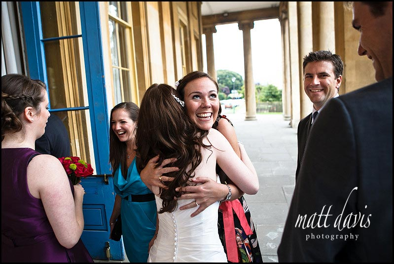 Wedding receiving line at Pittville pump room