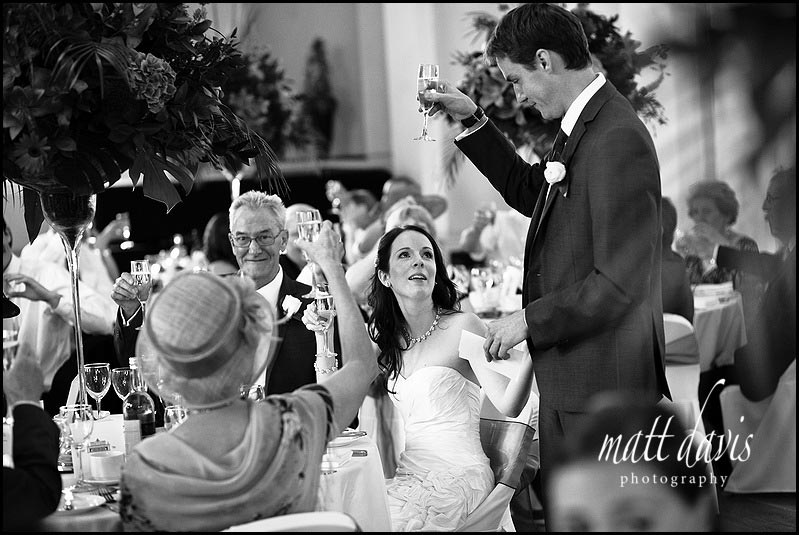 A wedding toast at Pittville pump room