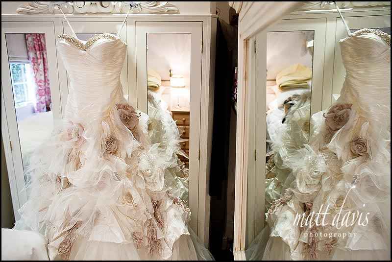 Wedding dress with large flowers all over