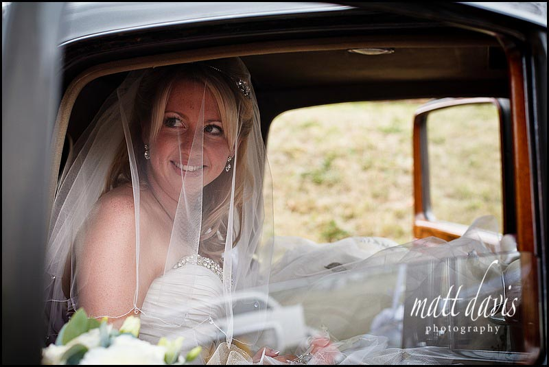 Bride arriving at Stone Barn Aldsworth