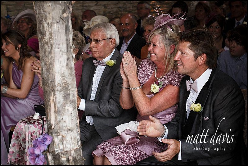 Mother of bride clapping