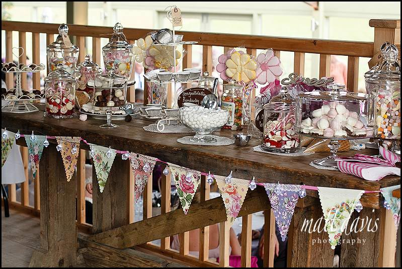 Wedding sweetie bar with vintage style jam jars