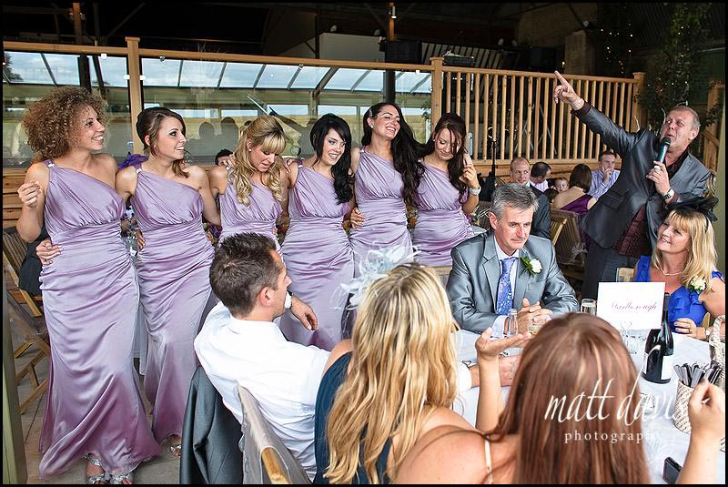 Dancing bridesmaids pre speeches at Stone Barn