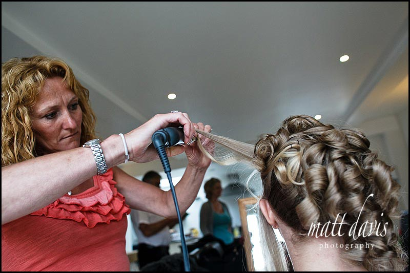 bridal hair with big curls up at back