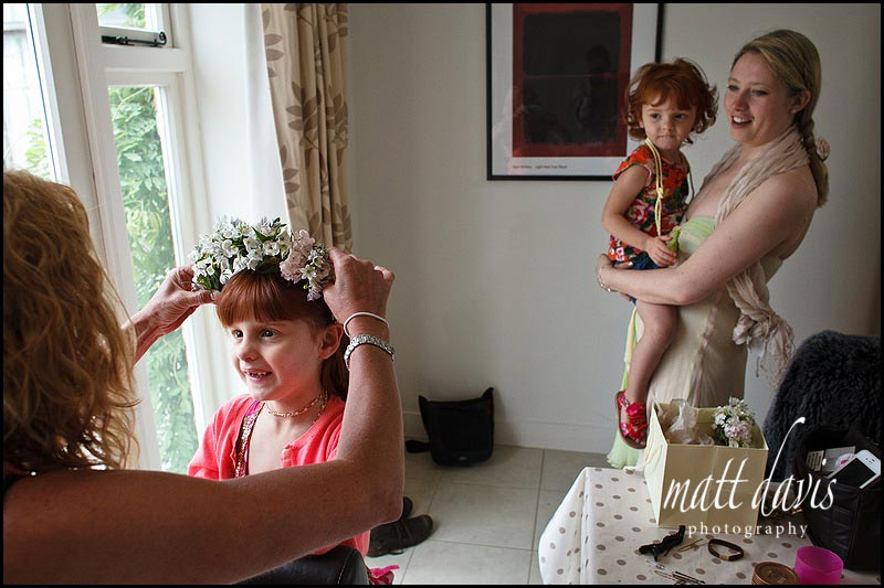 bridesmaid with flowers hairband
