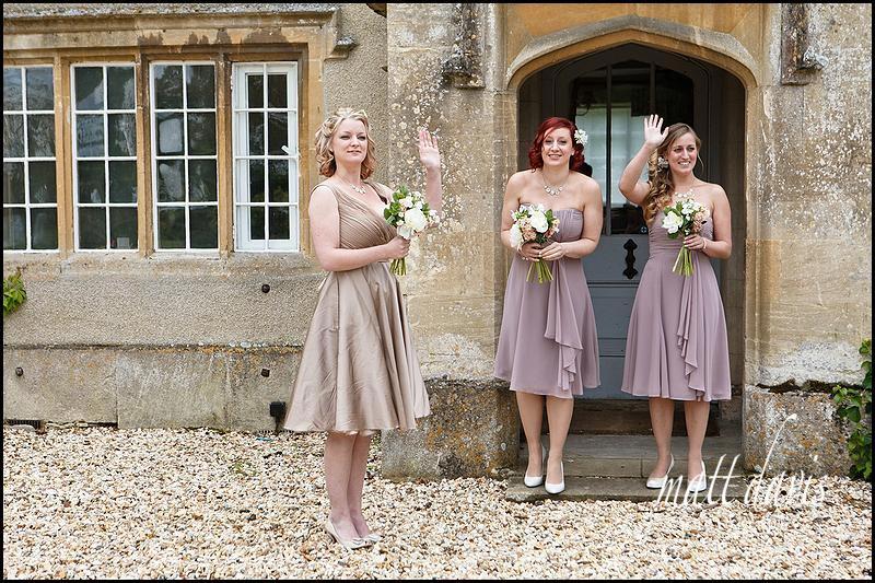 bridesmaids waving at Friars Court