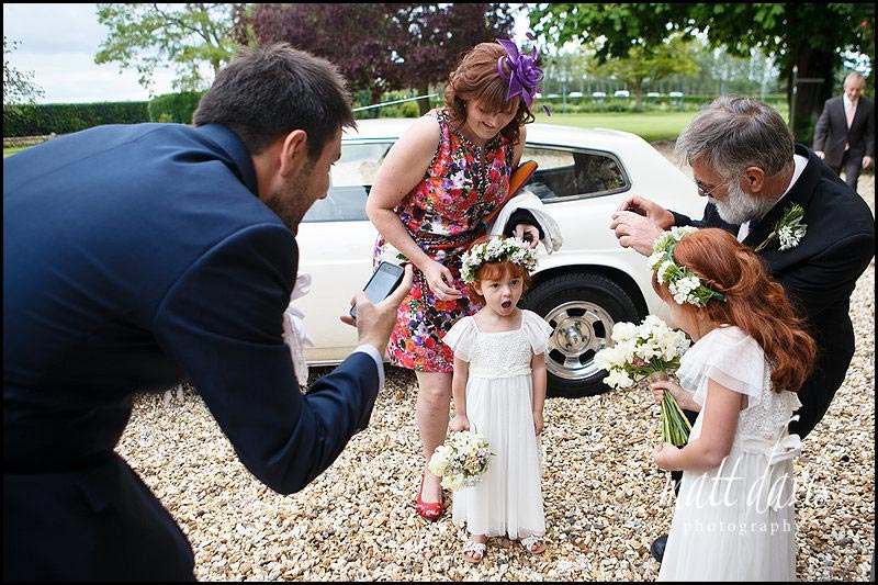 small bridesmaids arriving at Friars Court wedding