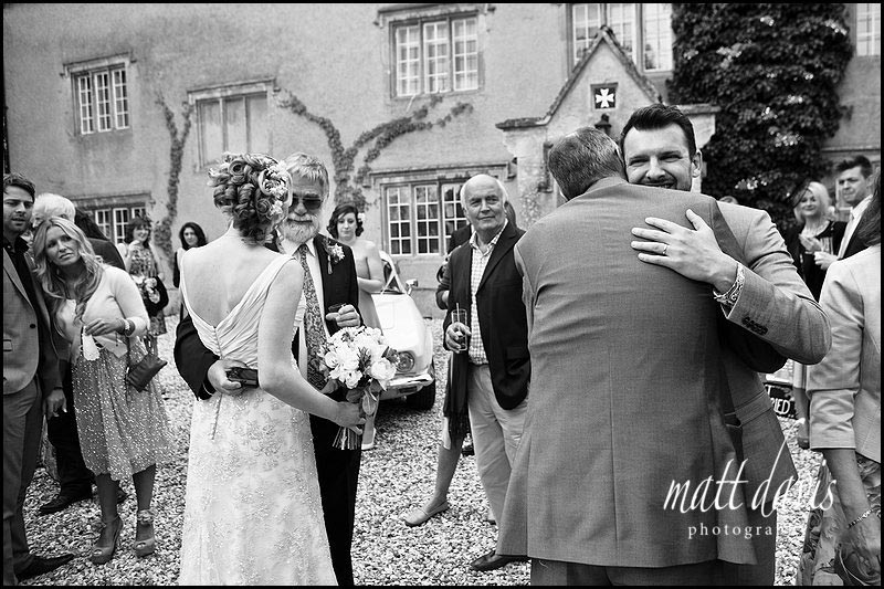 black and white photo of wedding at Friars Court