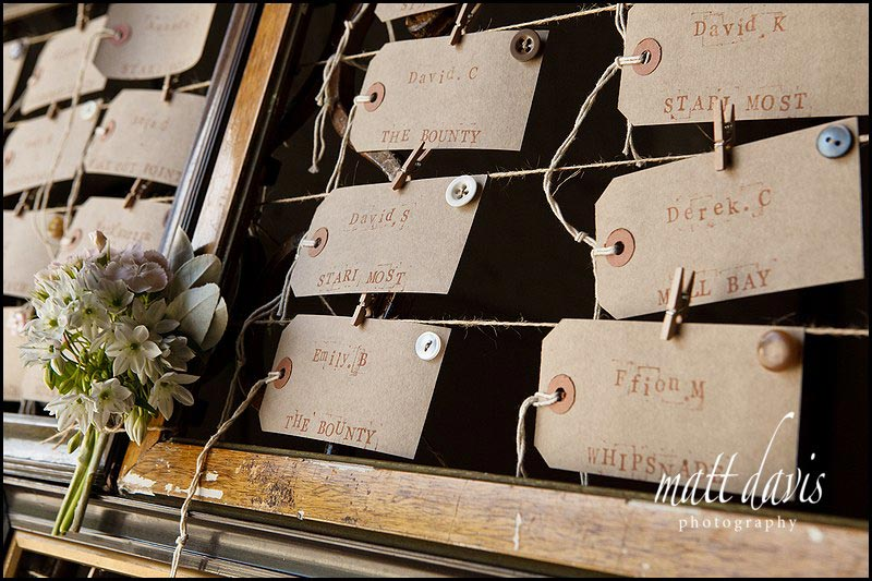 Vintage table plan for wedding at Friars Court