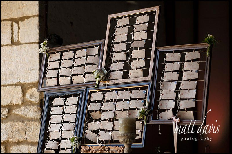 Vintage chic table plan for wedding at Friars Court