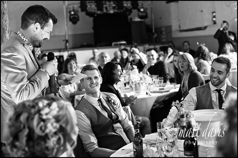 wedding speeches in the barn at Friars Court