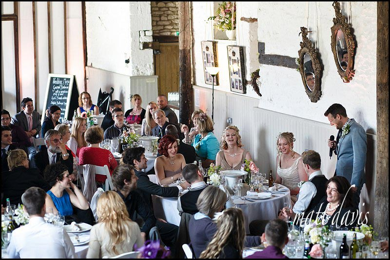 wedding speech in the barn at Friars Court