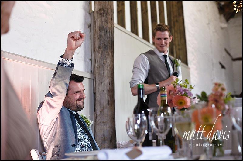 best mans wedding speech in the barn at Friars Court
