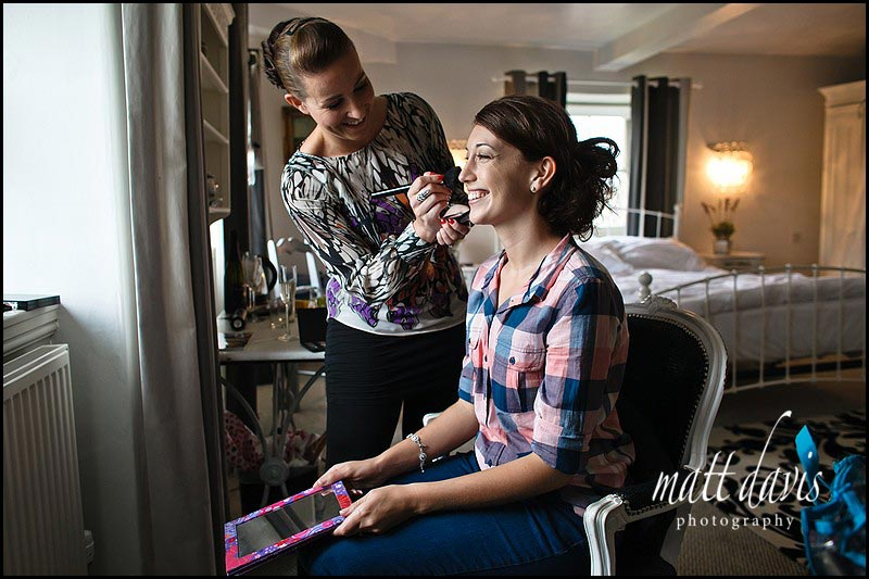 Hair and make-up in room at Cotswolds 88 hotel