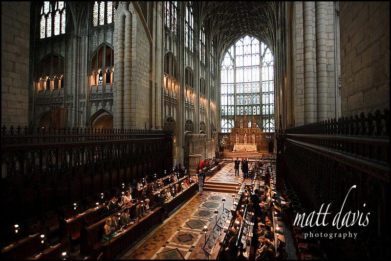 Wedding photos at Gloucester Cathedral inside